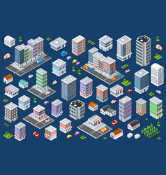 set urban flat buildings vector image