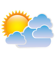 Sticker sun with clouds icon vector