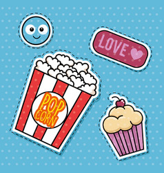 Sweet stickers pop art vector