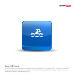 swimming icon - 3d blue button vector image
