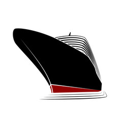 the big nose of a cruise liner simple logo ship vector image