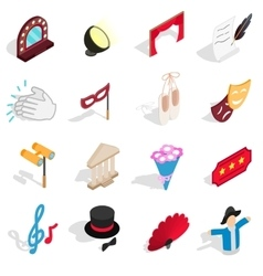 Theatre icons set isometric 3d style vector image