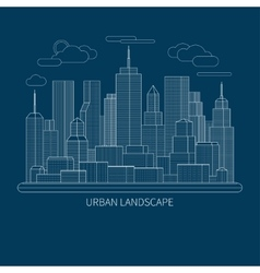 Thin line city landscape concept vector