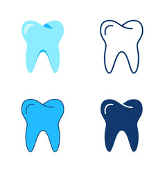 Tooth icon set in flat and line style vector