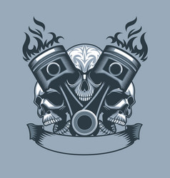 Two burning pistons on three skulls background vector