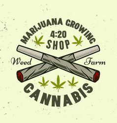 Two crossed weed joints emblem or logo vector