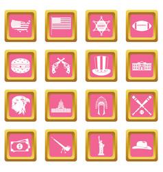 Usa icons pink vector