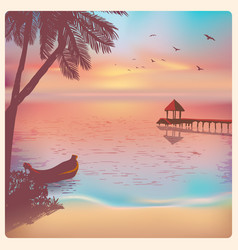 vintage poster with sunset on beach vector image