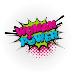 Woman girl power comic book text pop art vector