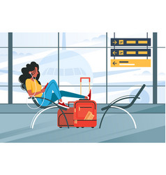 young girl waiting for flight on plane vector image