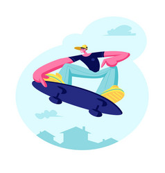 Young guy jumping on skateboard skateboarder vector