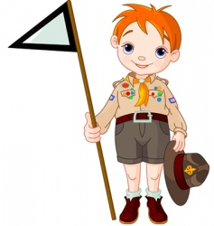 boy scout holding a flag vector image vector image