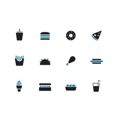 Fast food duotone icons on white background vector image