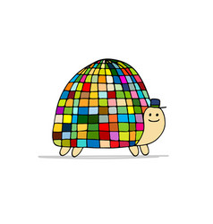 Funny disco turtle sketch for your design vector