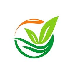 leaf abstract bio floral logo vector image