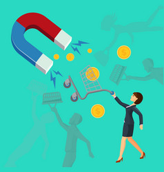 magnet attracts money cart with woman attracting vector image vector image