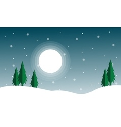 Silhouette of spruce with moon scenery vector