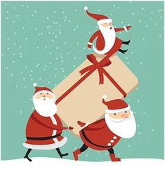 Three Santas with huge gift box vector image vector image