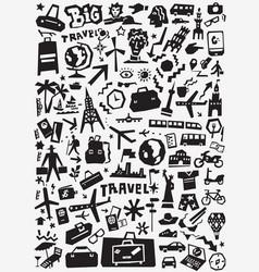 Travel transportation doodles vector