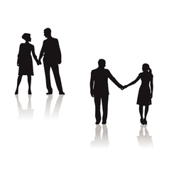 couples holding hands silhouette vector image vector image