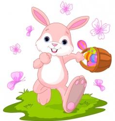 Easter bunny hiding eggs vector image