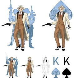 King of spades caucasian mafioso godfather with vector image