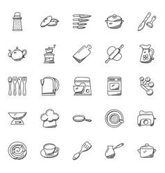 kitchen utensils doodle icons set vector image