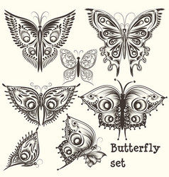 set of filigree beautiful butterflies for design vector image