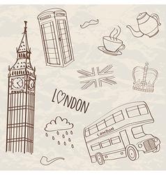 set of hand-drawn London symbols vector image