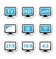 TV monitor screen icons set vector image vector image