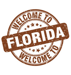 welcome to florida brown round vintage stamp vector image vector image