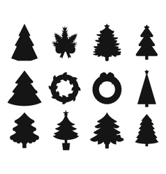 Christmas tree black icons set vector image
