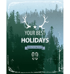 coniferous forest with text vector image