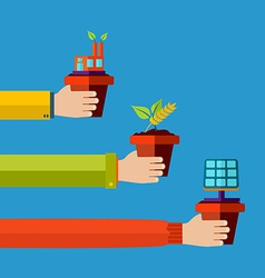 Eco friendly concept flat design background vector image