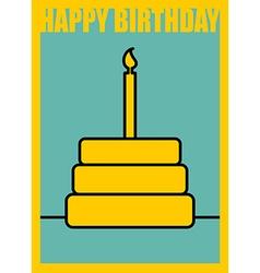 Happy birthday Postcard in minimalist style Cake vector image
