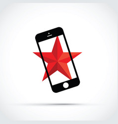 mobile cell phone with a red star background vector image vector image