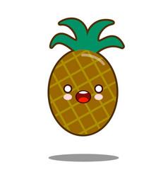 Pineapple apple fruit cartoon character icon vector