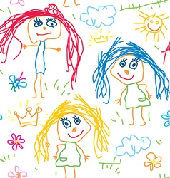 Seamless pattern kids drawing vector image vector image