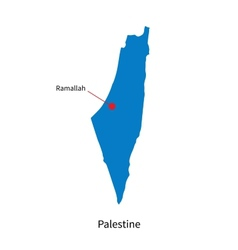 Detailed map of Palestine and capital city vector image vector image