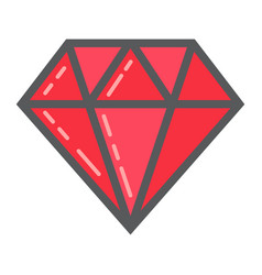 Diamond filled outline icon business and finance vector