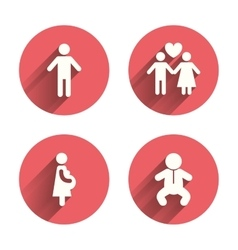 Family lifetime icons Couple love and pregnancy vector image vector image