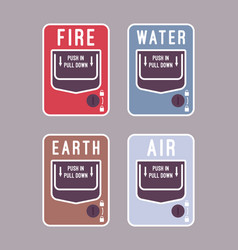 fire water air and earth alarm vector image