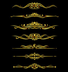 golden ornate borders set black background vector image vector image