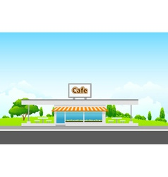 Green Landscape with cafe vector image