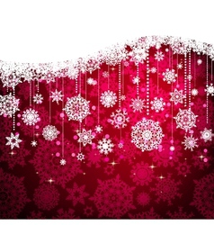 Red card with christmas snowflakes EPS 8 vector image