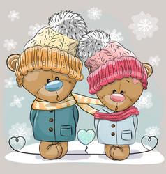 teddy bear boy and girl vector image vector image