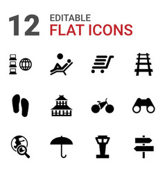 12 travel icons vector