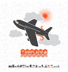 Airplane in clouds and travel icons vector