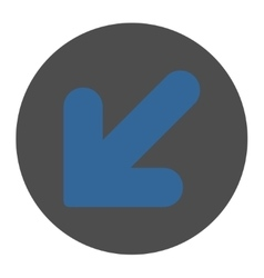 Arrow Down Left flat cobalt and gray colors round vector