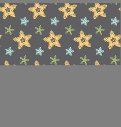 big hand drawn stars seamless pattern vector image